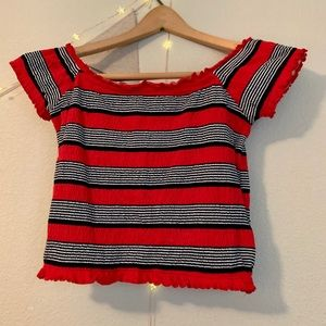 Stretchy, striped crop top! Sized 6